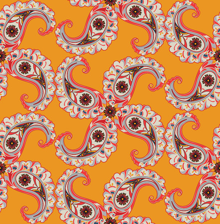 tibetan: Abstract floral ornamnet. Flourish ornamental tiled pattern. Fantastic flowers and leaves oriental seamless background Illustration