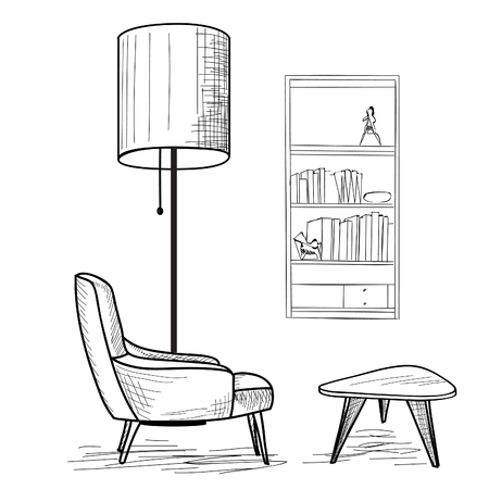 armchair: Interior design of living room with armchair, table, book-shelf and floor lamp. Lounge concept interior.. Flat classic, modern furniture design in 1960s minimalist style. Illustration