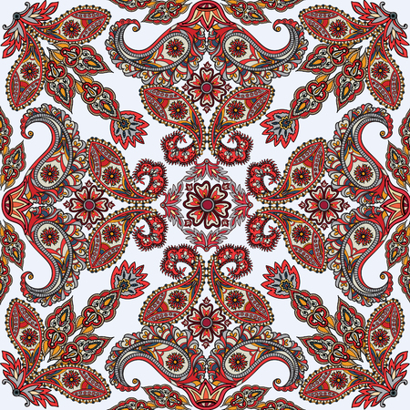 fabric art: Flourish tiled pattern. Abstract floral geometric seamless oriental background. Fantastic flowers and leaves. Wonderland motives of the paintings of arabic mandala. Indian fabric pattern.