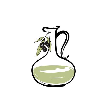 oil bottle: Olive oil bottle. Olives design over white background
