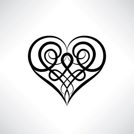 ハートマークの形は分離されました。古代ケルト装飾的な様式の愛の心のお守り。