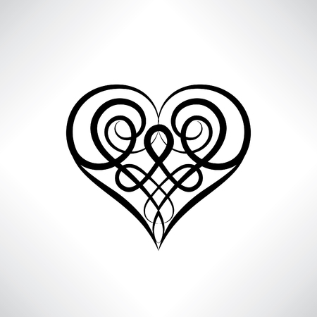 Heart shape symbol isolated. Love heart amulet in ancient Celtic ornamental style.