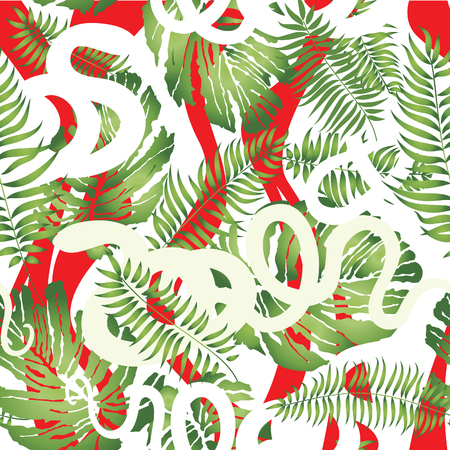 tropical plants: Abstract floral pattern. Holiday seamless background