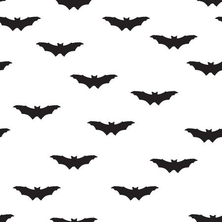 Bat silhouette seamless pattern. Holiday Halloween background. Halloween bat texture Stock Illustratie
