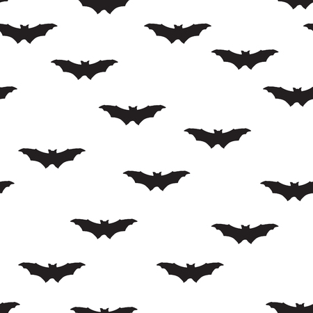 Bat silhouette seamless pattern. Holiday Halloween background. Halloween bat texture Vettoriali