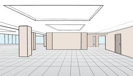 open space: Interior office room. Conference room for office open space interior with columns, windows, doors. Vector illustration