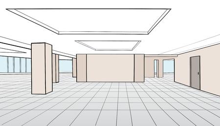 perspective room: Interior office room. Conference room for office open space interior with columns, windows, doors. Vector illustration