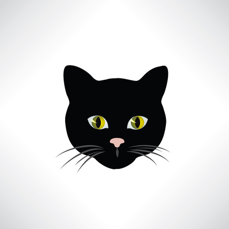 black: Cat. Cats face isolated. Pet design element