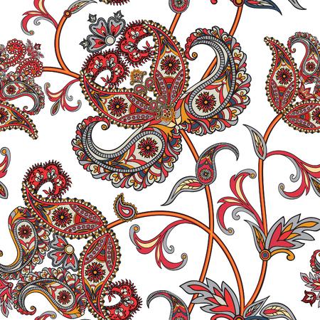 花のシームレスなパターン。花の背景。花と花のシームレスなテクスチャです。繁栄は東洋民族壁紙を並べて表示