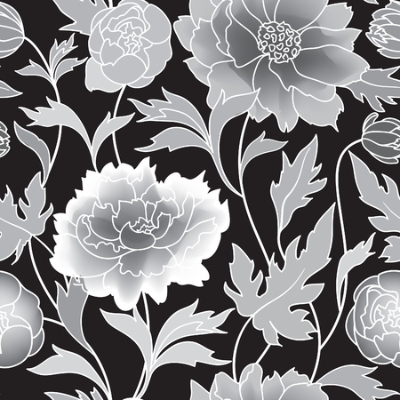 flower pattern: Floral pattern Flourish tiled background. Abstract geometric ornament with fantastic flowers and leaves. Wonderland ornamental motives