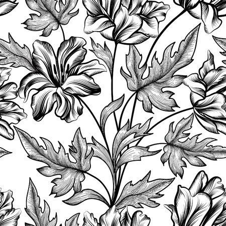 victorian pattern: Floral seamless pattern. Flower background. Floral tile spring texture with flowers. Illustration
