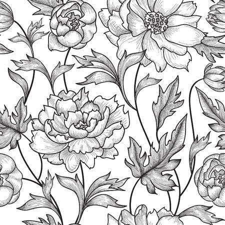 flower pattern: Floral pattern  Flower rose ornamental background Flourish texture with summer flower bouquet. Gentle floral tiled wallpaper Illustration