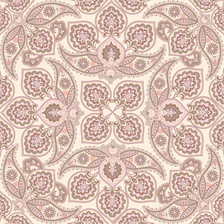 background kaleidoscope: Flourish tiled pattern. Floral oriental ethnic background. Arabic ornament with fantastic flowers and leaves. Wonderland motives of the paintings of ancient Indian fabric patterns.
