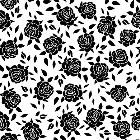 rose: Floral pattern  Flower rose ornamental background Flourish texture with summer flower bouquet. Black and white floral tiled wallpaper Illustration