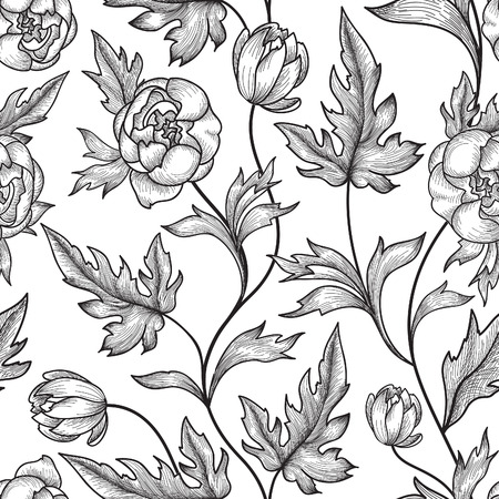 white roses: Floral seamless pattern. Flower background. Floral tile ornamental texture with flowers. Spring flourish garden Illustration
