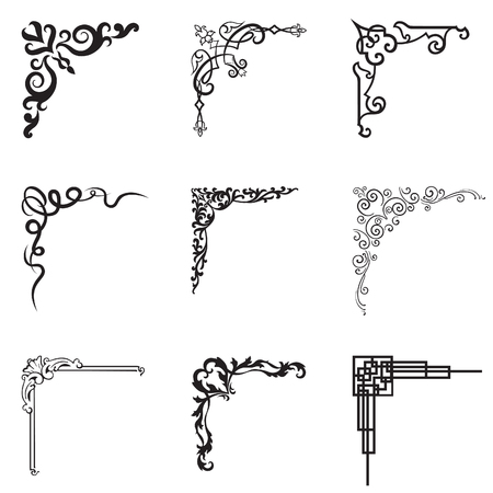 Ornamental floral and geometric corners in different style. Vector set of design black and white illustration