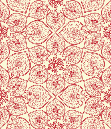 fabric pattern: Flourish tiled pattern. Floral retro background. Curved tree branch with fantastic flowers, leaves and berries. Wonderland motives of the paintings of ancient Indian fabric patterns. Illustration