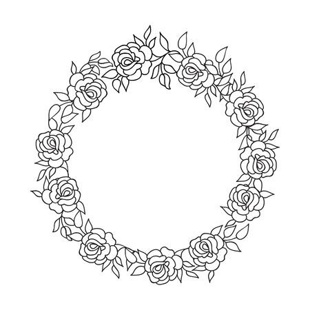 marcos redondos: Marco floral con flores de verano. ramo de flores con rosas y flores silvestres. Tarjeta de felicitación de la vendimia con las flores del Flourish frontera. Fondo floral.