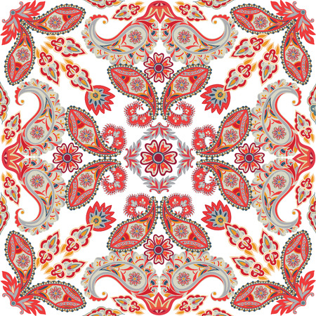 eastern religion: Flourish tiled pattern. Abstract floral geometric seamless oriental background. Fantastic flowers and leaves. Wonderland motives of the paintings of arabic mandala. Indian fabric pattern.