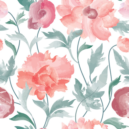 Floral seamless pattern  Flower background. Floral tile ornamental texture with flowers  Spring flourish garden watercolor wallpaper Ilustracja