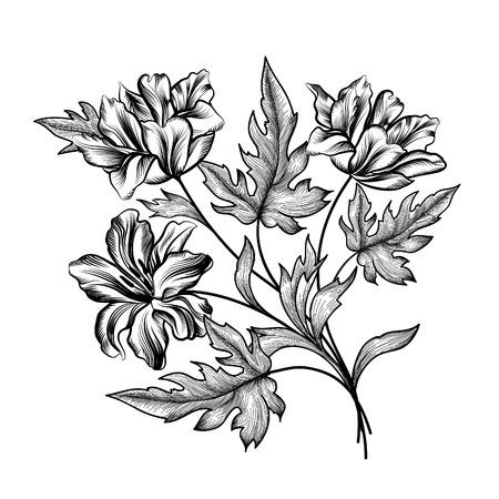 dessin fleur: Floral frame avec des fleurs d'été. Bouquet floral avec des tulipes. Carte de voeux de cru avec des fleurs ornemental frontière. Floral background. Illustration