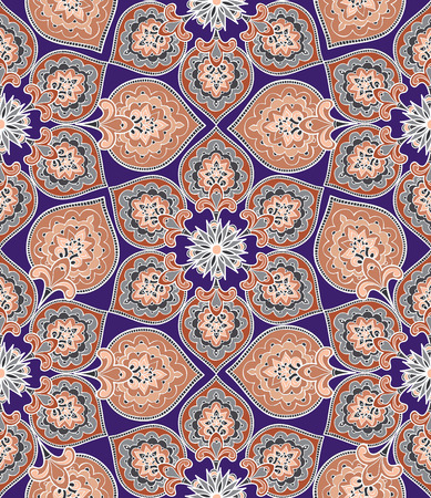 fabric pattern: Floral pattern Flourish tiled oriental ethnic background. Arabic ornament with fantastic flowers and leaves. Wonderland motives of the paintings of ancient Indian fabric patterns.