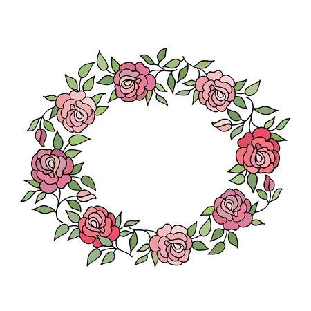 Marco floral con flores de verano. ramo de flores con rosas y flores silvestres. Tarjeta de felicitación de la vendimia con las flores del Flourish frontera. Fondo floral.