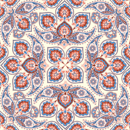 background kaleidoscope: Floral pattern Flourish tiled oriental ethnic background. Arabic ornament with fantastic flowers and leaves. Wonderland motives of the paintings of ancient Indian fabric patterns.