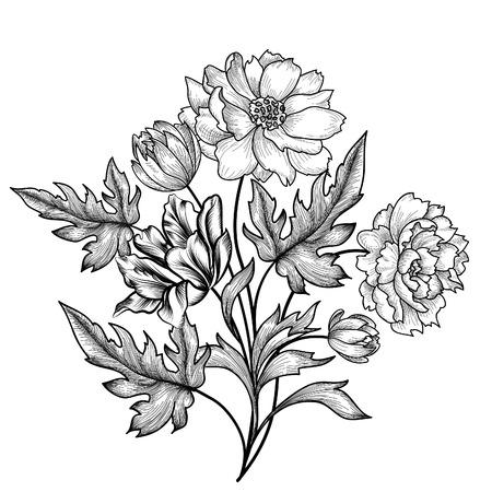 blanco negro: Marco floral fijado con las flores de verano. ramo de flores con rosas. Tarjeta de felicitación de la vendimia con las flores del Flourish frontera. Fondo floral.
