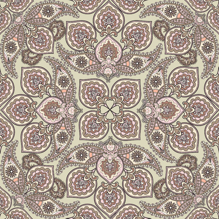 iranian: Floral pattern Flourish tiled oriental ethnic background. Abstract geometric ornament with fantastic flowers and leaves. Wonderland ornamental motives