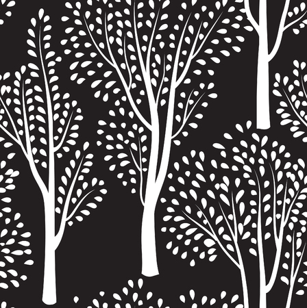 wildlife: Nature seamless pattern. Forest tiled background. Trees and birds wildlife vector illustration. Floral black and white wallpaper