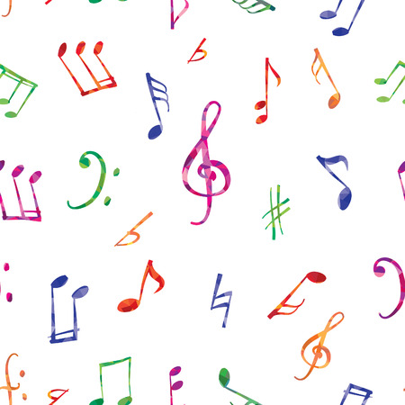 Musical pattern. Music notes and signs seamless background