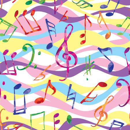 音楽のパターン。音楽ノートと標識のシームレス背景
