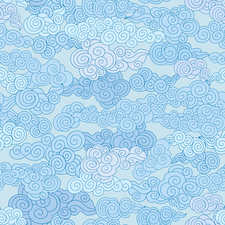 Swirl cloudy pattern in chinese style. Cloud pattern. Cloudy sky seamless backround  イラスト・ベクター素材