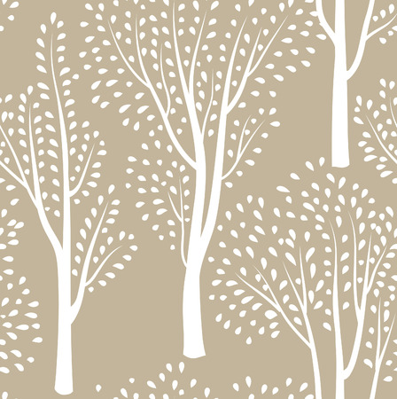 nature vector: Nature seamless pattern. Forest tiled background. Trees and birds wildlife vector illustration. Floral black and white wallpaper