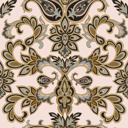 Bloemen patroon Flourish betegelde oosterse etnische achtergrond. Arabisch ornament met fantastische bloemen en bladeren. Wonderland motieven van de schilderijen van de oude Indische stof patronen. Stockfoto - 57298490