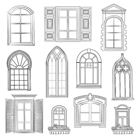 antic: Window set. Different architectural style of windows doodle sketch stylish collection Illustration