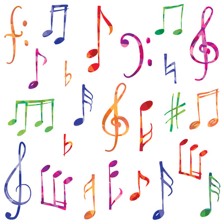 grunge music background: Music notes and signs set. Hand drawn music symbol sketch collection
