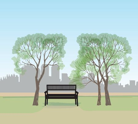 plants and trees: Bench in city park. Trees and plants skyline. Landscape with bench. Cityscape vector illustration