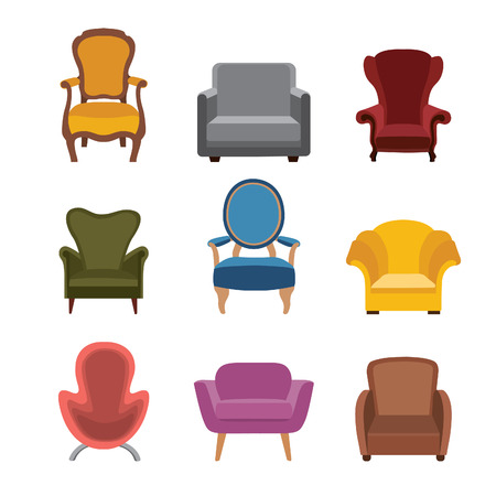 Gentil Chairs And Armchairs Icons Set. Furniture Collection Of Different Armchairs  In Flat Style. Stock