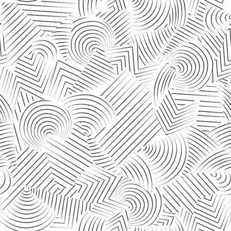 Abstract seamless pattern.  Line ornamental doodle geometric background Black and white stripped texture Vettoriali