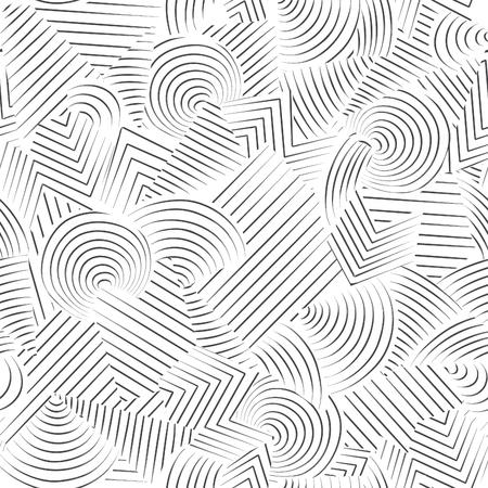 Streszczenie szwu. Linia ozdobnych doodle geometryczne tle czarno-białe o gładkiej fakturze