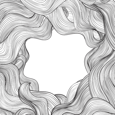 Hair outline background. Wavy hair frame for beauty salon design Vettoriali