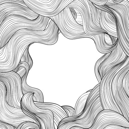 Hair outline background. Wavy hair frame for beauty salon design Illustration
