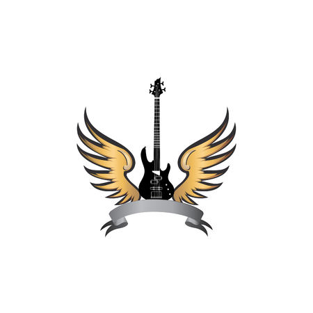 black wings: Rock music symbol. Electric guitar with wings. Winged guitar with ribbon for band or festival name. Vintage vector label  illustration