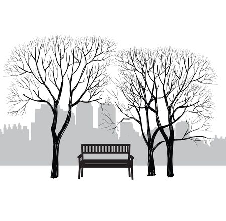 city landscape: Bench in city park. Trees and plants. Landscape with bench. Cityscape vector illustration