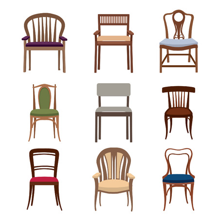 school icon: Chairs and armchairs icons set. Furniture collection of different chairs in flat style.