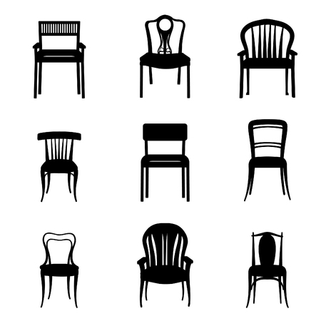 armchairs: Chairs and Armchairs Silhouette Set. Modern and Ancient Furniture collection for home, office, restraunt, cafe