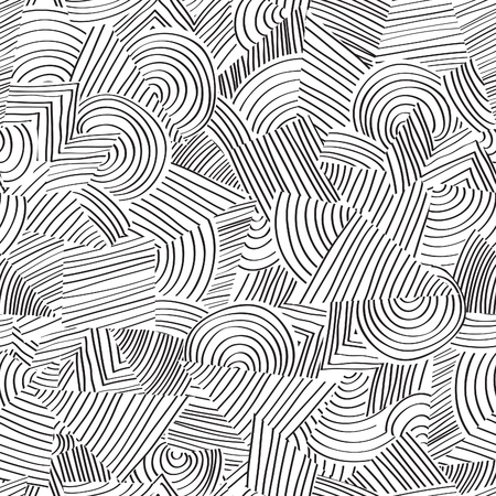 Line seamless pattern. Abstract doodle geometric ornament Black and white texture Çizim