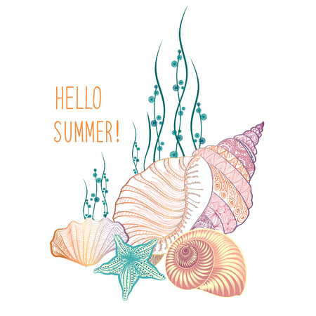 Abstract summer background. Summer holidays cover with sea inhabitants. Hello summer greeting card. Doodle vector illustration
